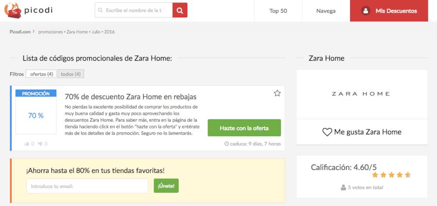 código descuento zara home