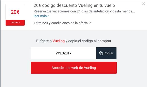 Ejemplo de Código Descuento Vueling