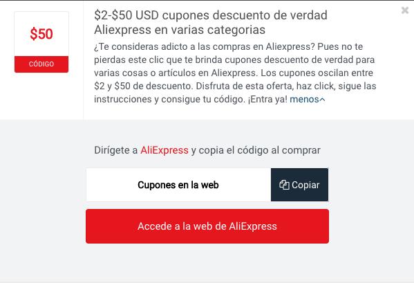 Ejemplo de un Código Descuento Aliexpress