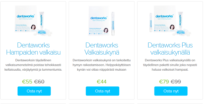 dentaworks tuotevalikoima etukoodi kuponki