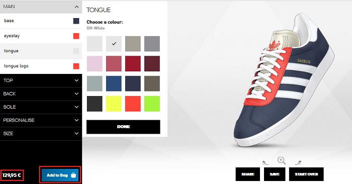 Valitse itse kenkiesi väri.