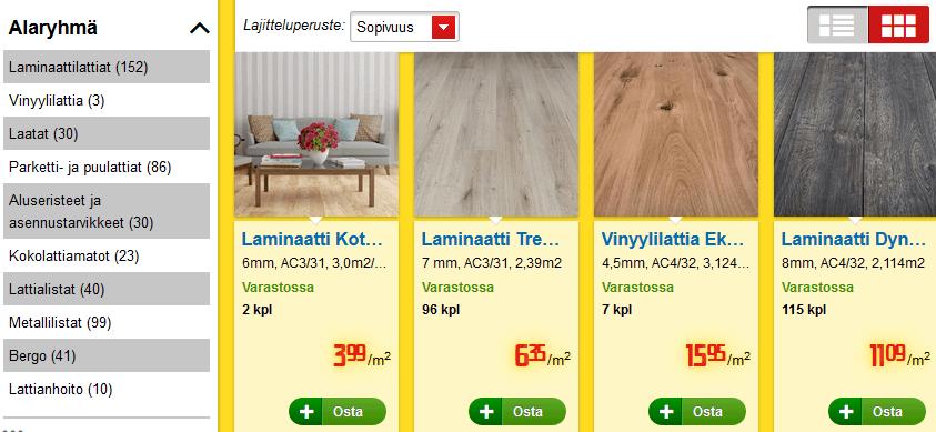 Monipuolinen valikoima edullisia lattiamateriaaleja