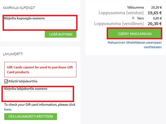 Lisää etukoodi ja/tai lahjakortin koodi kassalla