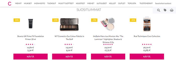 Runsaasti edullisia kosmetiikkatuotteita
