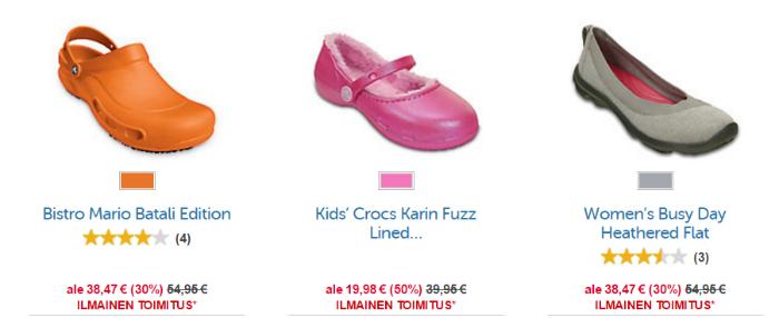Naisten jalkineita Crocsilta