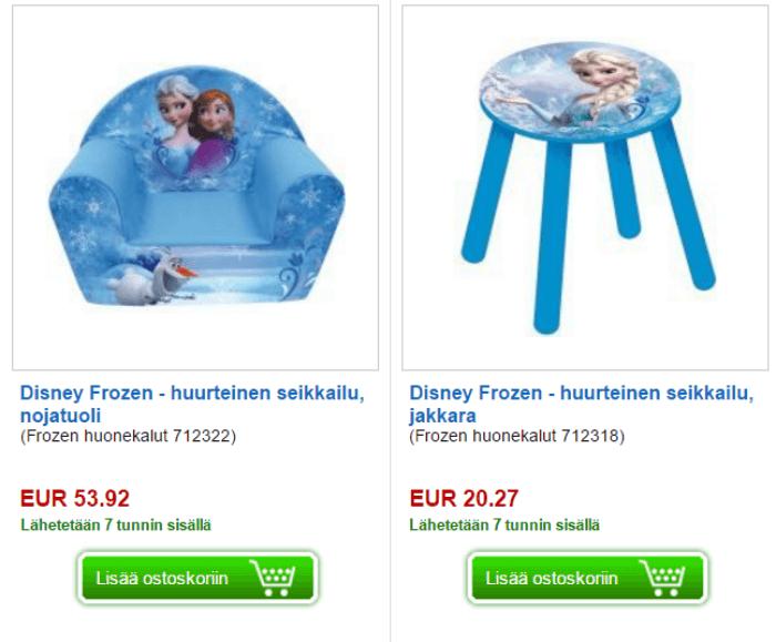 Tuotteita lastenhuoneeseen