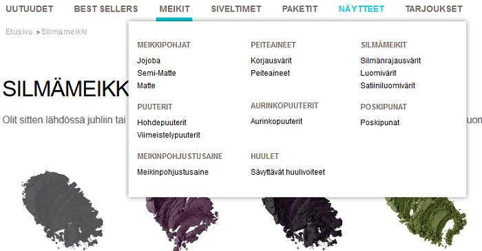 Päävalikko ja meikkien alakategoriat