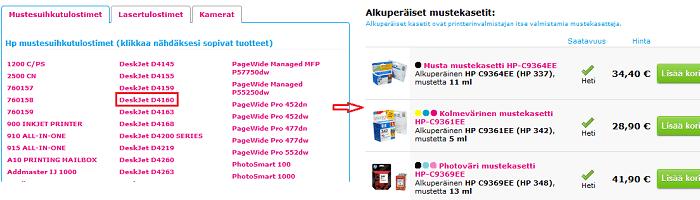 Valitse laitemalli, lisää haluamasi tuotteet ostoskoriin