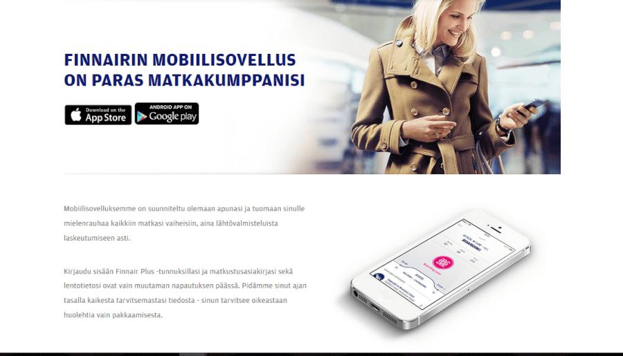 Finnairin kätevä mobiilisovellus