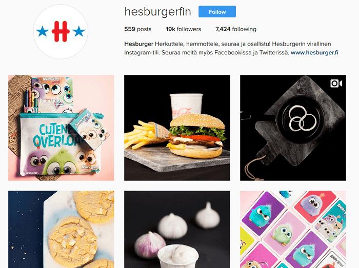 hesburger instagram tarjous kuponki