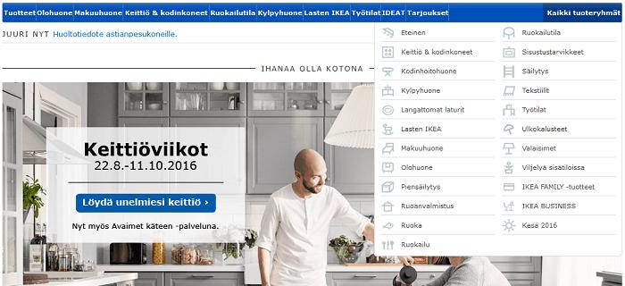 Ikean tuotevalikot