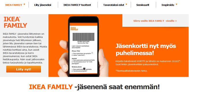 Ikea Family -kortin tilaaminen