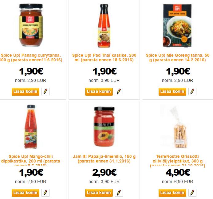 Kokkimanista elintarvikkeita alennetuin hinnoin