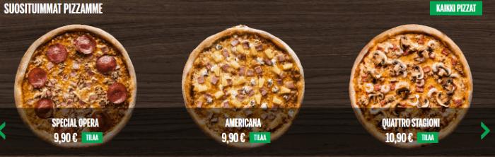 Suosituimmat pizzat