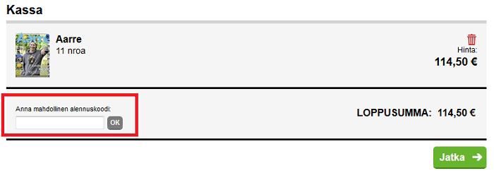 lehtikuningas.fi alennuskoodin käyttäminen