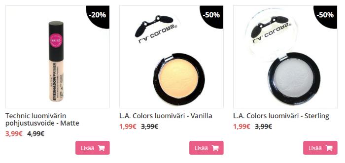 Mekeupshopista kosmetiikkaa alennetuin hinnoin