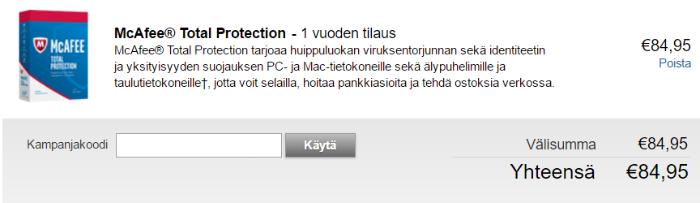 Kampanjakoodien käyttö McAfee-verkkokaupassa