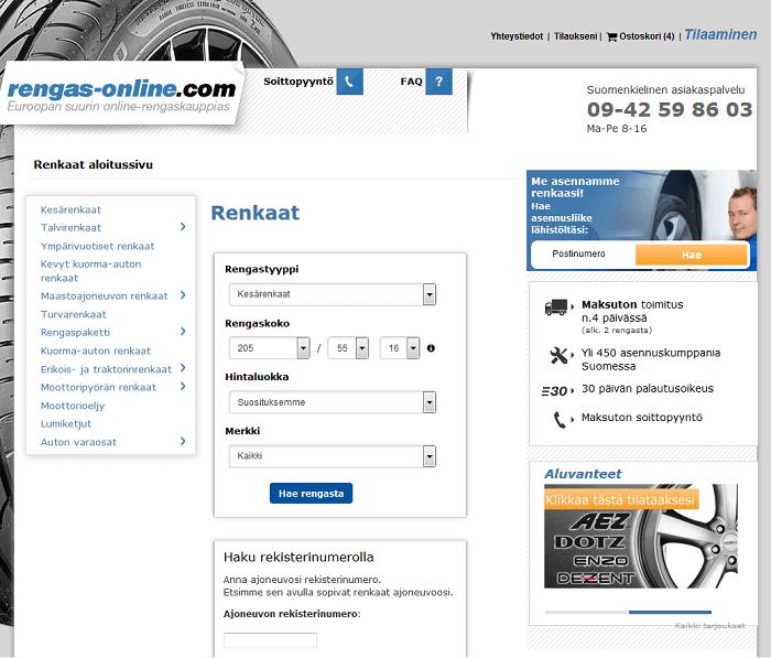 rengasonline.com etusivu renkaat halvalla etukoodi