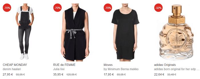 Vaatteita alennetuin hinnoin