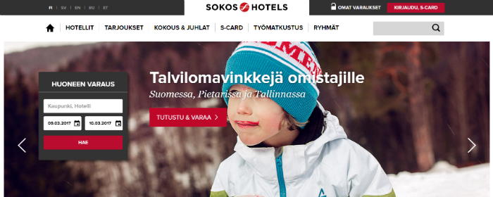Sokos Hotels etusivu