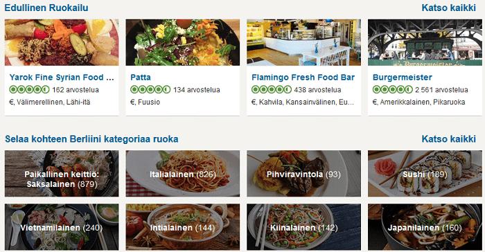Kaupungin ravintolat eri kategorioissa