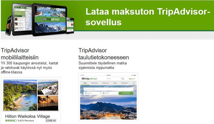 TripAdvisor myös maksuttomana mobiiliin!