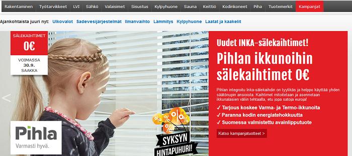 etusivun tuotevalikko sekä mainos kampanjasta