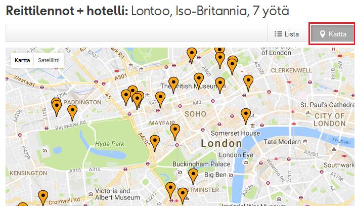 Siirrä hotellivaihtoehdot kartalle.