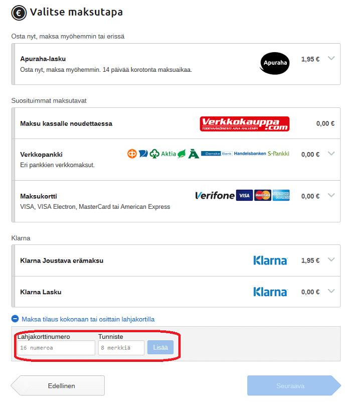 etukoodi lahjakortti maksaminen verkkokauppa