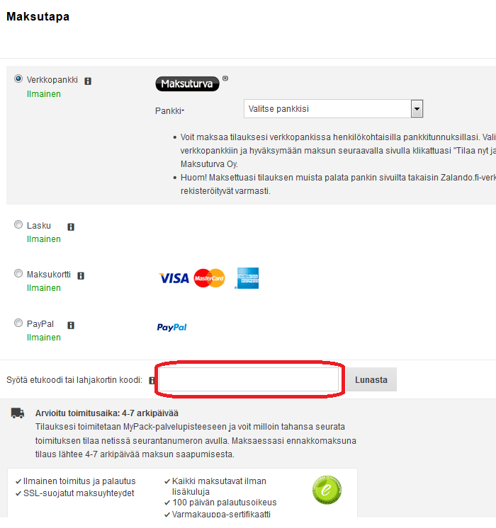 kuponki käyttäminen zalando.fi