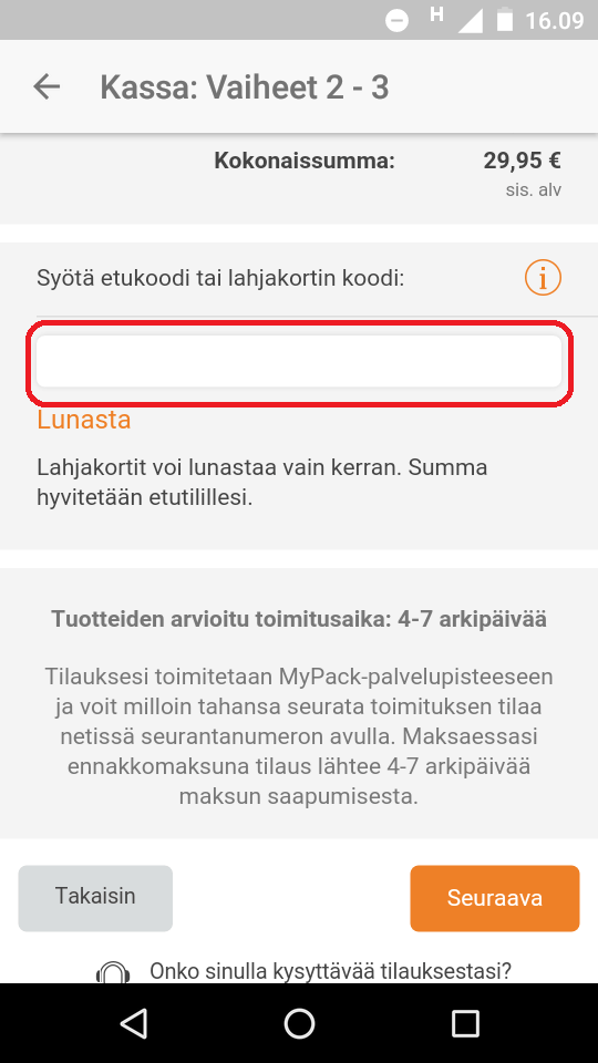 kuponki käyttäminen sovellus zalando.fi
