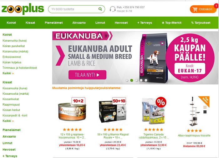 zooplus verkkosivujen etusivut alennuskoodit tarjous
