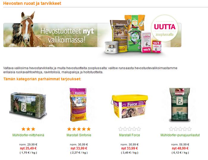 zooplus hevostuotteita tarjoukset etukoodi kuponki