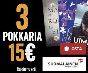 Kolme pokkaria vain 15 €