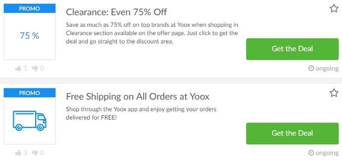 Special Yoox deals