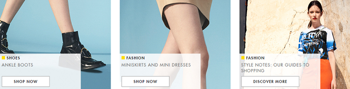 Fashion products at Yoox