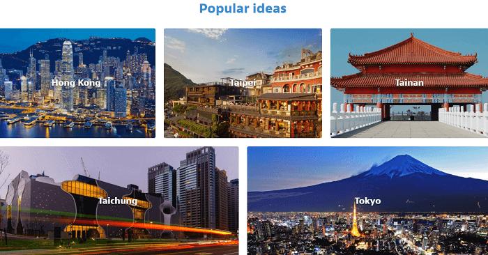 Popular trip destinations