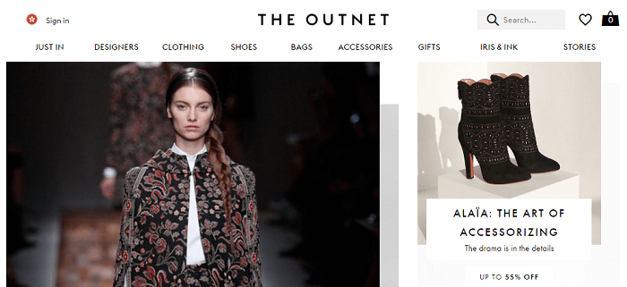 The Outnet website