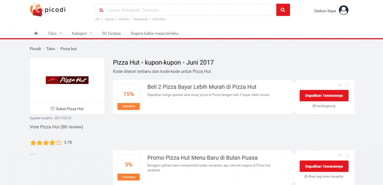 Kode Diskon Pizza Hut