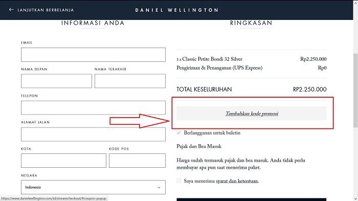 Menggunakan kode promosi dari PICODI di situs DANIEL WELLINGTON