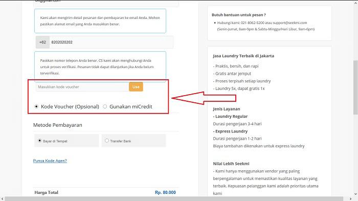 Menggunakan Kode Diskon dari PICODI di situs SEEKMI