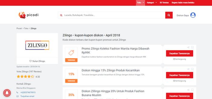 Tawaran promo dan Kode Diskon ZILINGO di situs PICODI