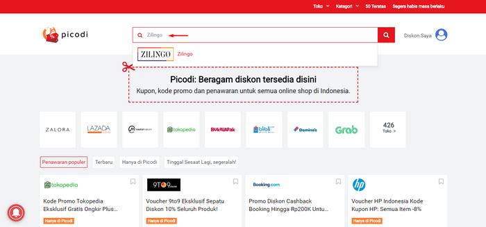 Mencari promo dan Kode Diskon ZILINGO di situs PICODI