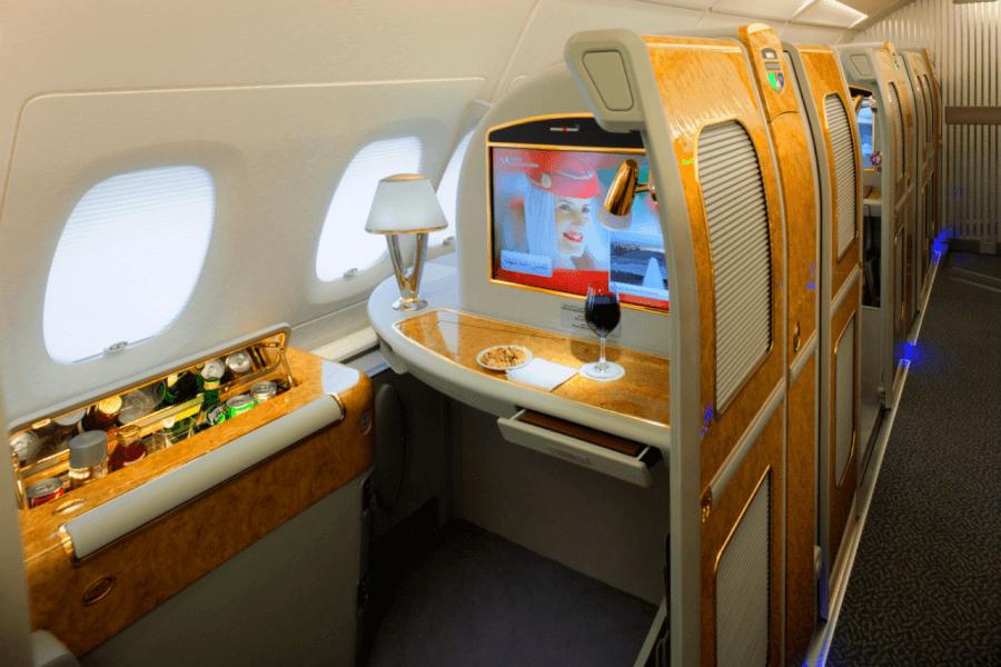 prima classe su un volo emirates