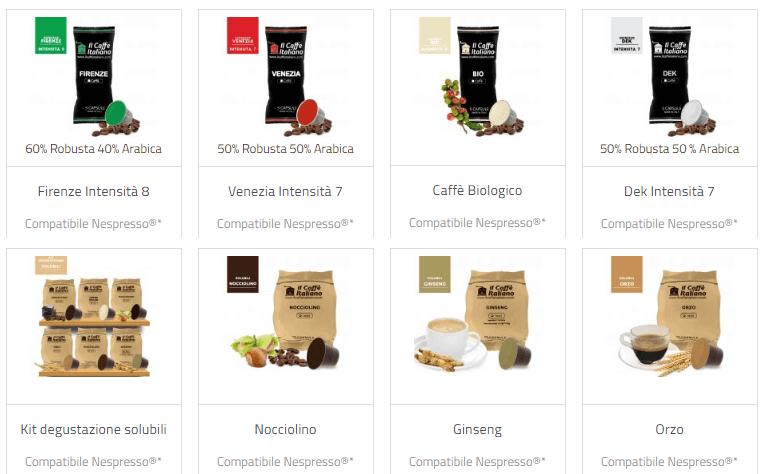 tipologie di caffé disponibili