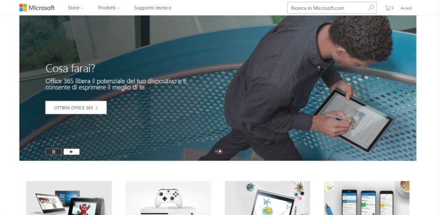 homepage di microsoft