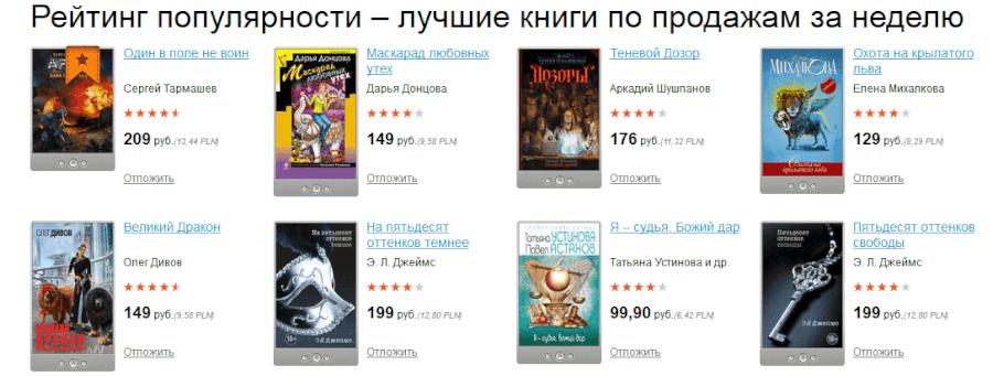 Популярные книги в интернет-магазине «ЛитРес»