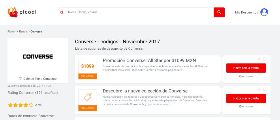 Ofertas Converse en Picodi México