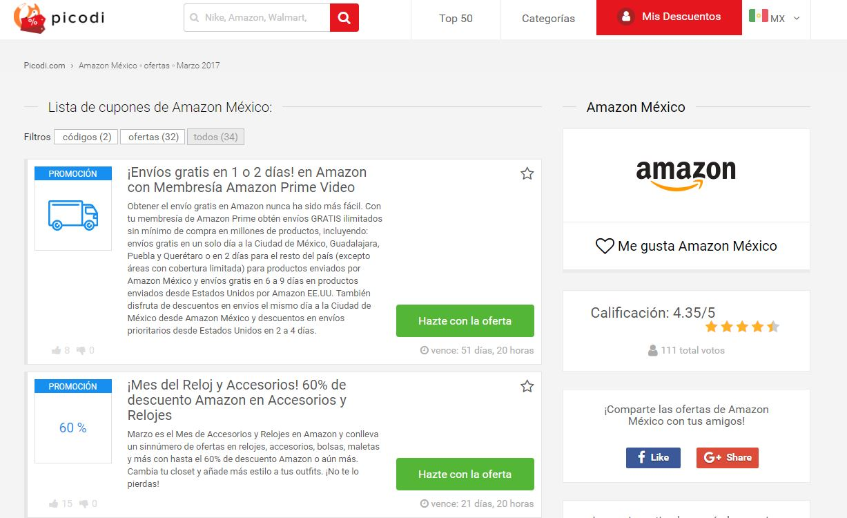 cupones Amazon Mexico en Picodi