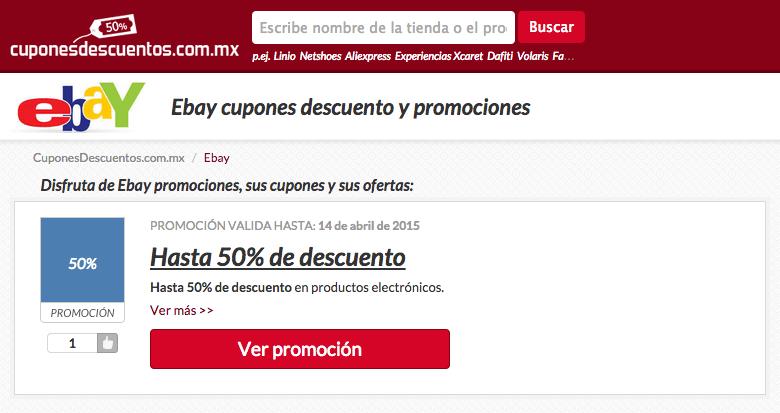 Nuestra gama de loas promociones ebay y cupones descuento